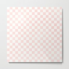Pink Coral Checkers Metal Print
