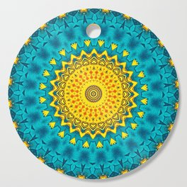 Birds of Paradise Geometric Circle Pattern \\ Tropical Beach House Vibes \\ Green Yellow Blue Colors Cutting Board