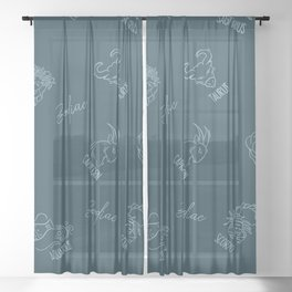 Zodiac astrological constellation pattern Sheer Curtain