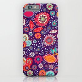 Colorful khokhloma flowers pattern iPhone Case