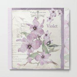 Vintage Violets Postcard Metal Print