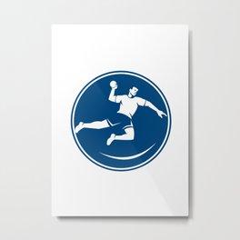 Handball Player Jumping Throwing Ball Icon Metal Print
