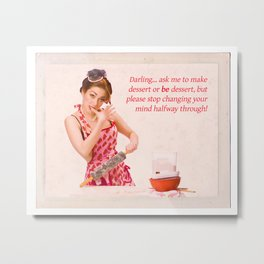"""Make Up Your Mind"" - The Playful Pinup - Baking Housewife Pinup by Maxwell H. Johnson Metal Print"