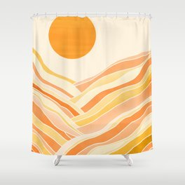 Golden Mountain Sunset Shower Curtain