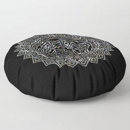 Aztec Mexican Silver Mandala Floor Pillow