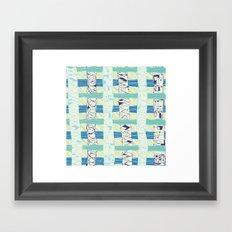 Doodled Checks Framed Art Print