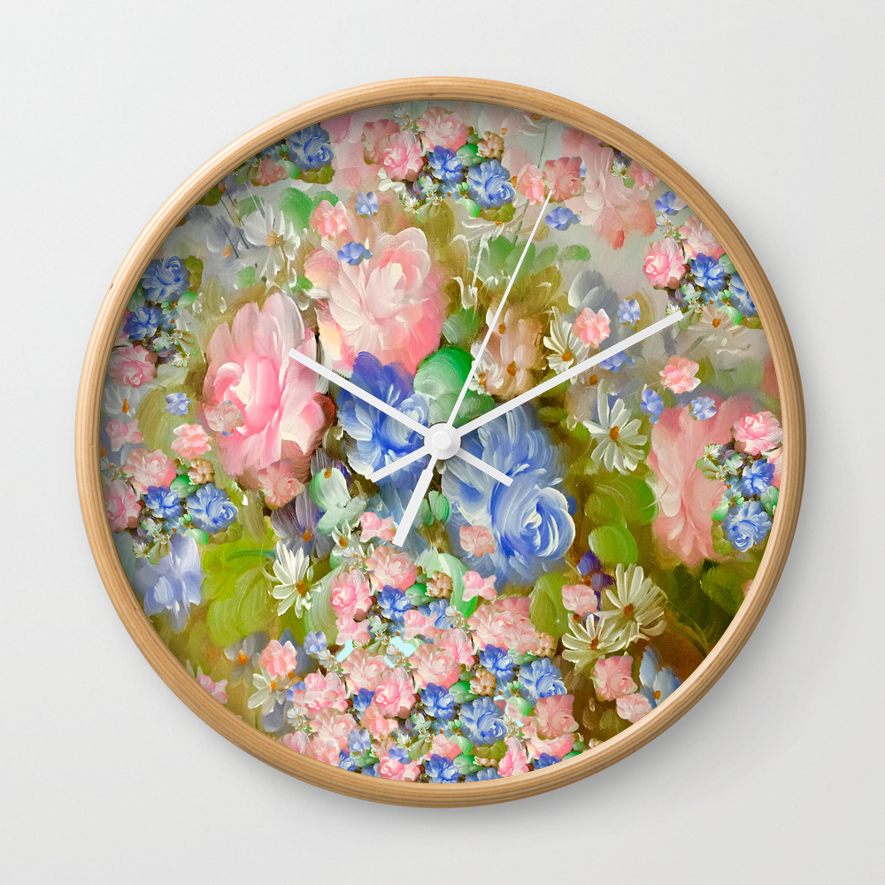 Roses Pink And Painterly Blue So Shabby Chic Wall Clock by Saundramyles CLK8951103