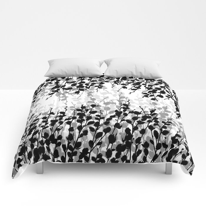 Elegant Pussywillow | Black • White • Gray Comforters