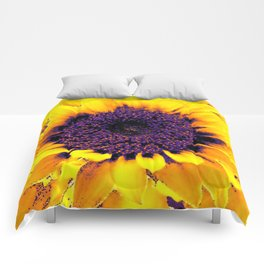 Purple Floral Center Of Butter Yellow Sunflower Comforters