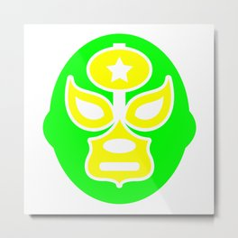 Mexican Wrestling Green Mask Metal Print