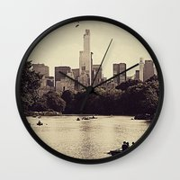 central park Wall Clocks featuring Central Park by C Liza B