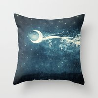 river Throw Pillows featuring Moon River by Paula Belle Flores