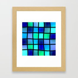 Blue and Green Tiles Framed Art Print