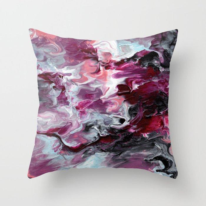 Raspberry Marble Throw Pillow