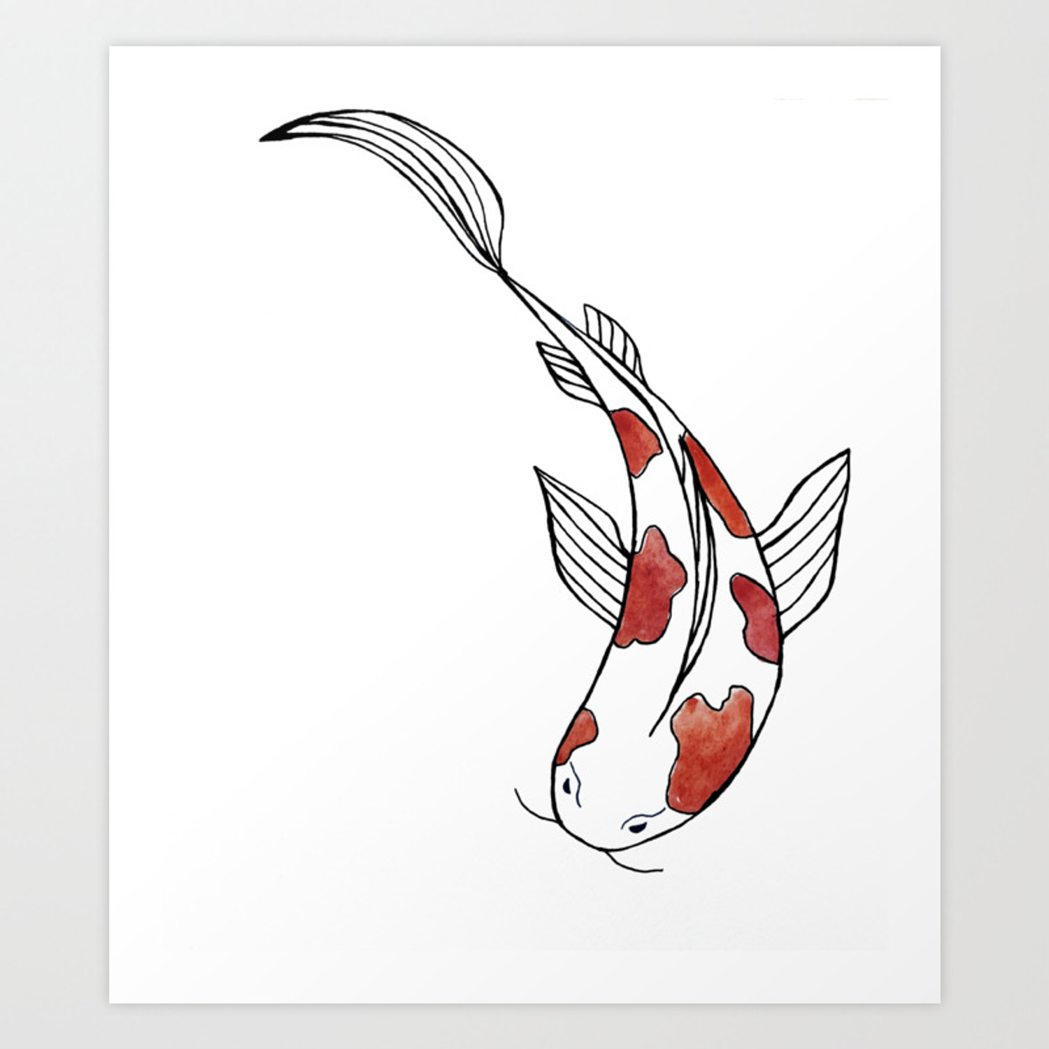 Colorful Watercolor Koi Fish Art Print By Kuallidesigns Society6