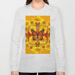 ORANGE MONARCH BUTTERFLIES & YELLOW SUNFLOWERS Long Sleeve T-shirt