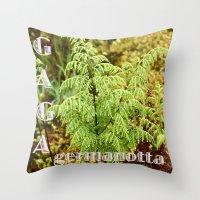 lady gaga Throw Pillows featuring Gaga germanotta by Duke Herbarium