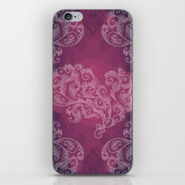 Burgundy with white floral ornament iPhone Skin