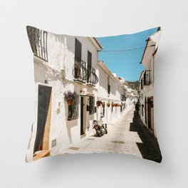 Streets and view Sof Mijas   White houses and architecture   Wanderlust for the eye   Wall art photo Throw Pillow