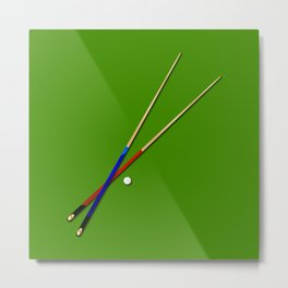 Snooker Cues Metal Print