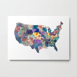 USA map art 2 #usa #map Metal Print
