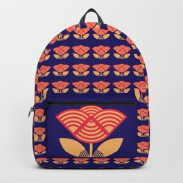 Japanese style flowers pattern blue Backpack