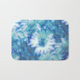 Blue Daisy Print Bath Mat