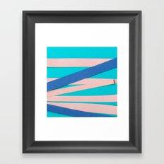 Pink & Blue Stripes on Turquois Framed Art Print
