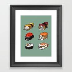 Sushi English Bulldog Framed Art Print