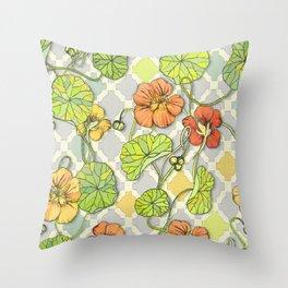 Climbing Nasturtiums in Lemon, Lime and Tangerine Throw Pillow