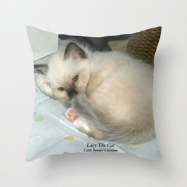Lucy The Cat And Little Brother Cristiano Throw Pillow