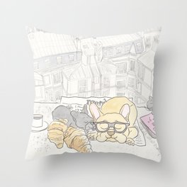 French Bulldogs Breakfast with Paris Rooftops View Throw Pillow