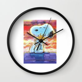 snoopy hug woodstock Wall Clock