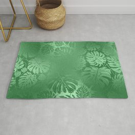 Green Leafs Pattern modern desig Rug