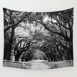 Spanish Moss on Southern Live Oak Trees black and white photograph / black and white art photography Wall Tapestry