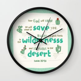 """""""Streams in the Desert"""" Hand-Lettered Bible Verse Wall Clock"""