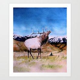 Elk and child Art Print