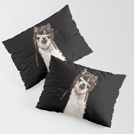 Cool Pilot Llama in Black Pillow Sham