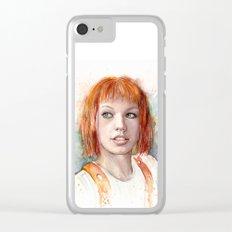 Leeloo Portrait Fifth Element Art Clear iPhone Case