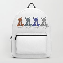 Cute Kawaii North American Fox Types Arctic Kit Red Gray Backpack