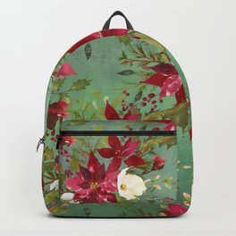 Burgundy red forest green white watercolor Christmas flowers Backpack