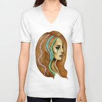 ultraviolence V-neck T-shirts featuring Ultraviolence by Christina Dedic
