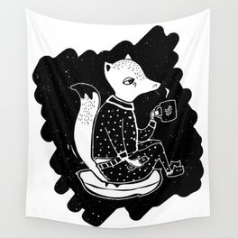 Fox drinking a cup of tea Wall Tapestry