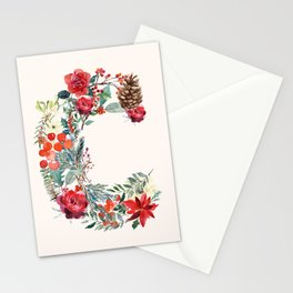 C Alphabet Floral Watercolor Stationery Cards