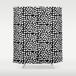 Bryan - black and white minimal dots polka dots cell phone iphone6 case trendy urban brooklyn minima Shower Curtain