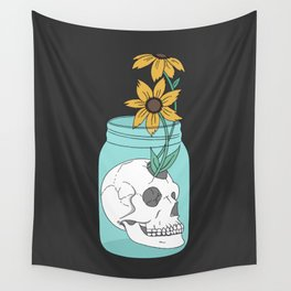 Skull in Jar with Flowers Wall Tapestry