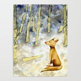 Meditating fox Poster