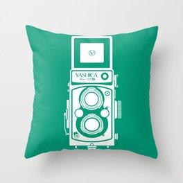 Yashica Mat 124G Camera Emerald Throw Pillow