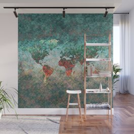 World Map Square Wall Mural
