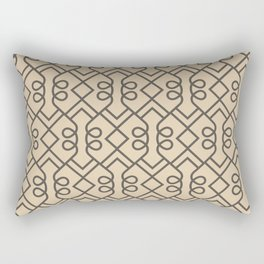 Brown and Tan Minimal Diamond Loop Pattern 2021 Color of the Year Urbane Bronze and Ivoire Rectangular Pillow